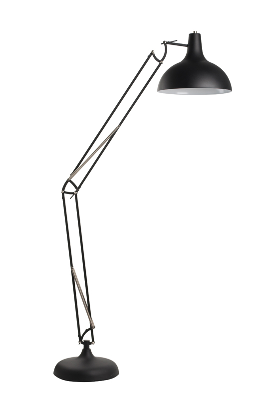 Lampa podłogowa White Label Living OFFICE, czarna