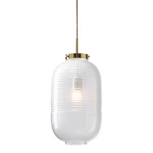 Lampa wisząca Bomma Lantern biała-polerowany mosiądz