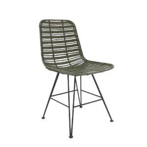 Krzesło HK LIVING Hokaido, rattanowe, oliwkowe